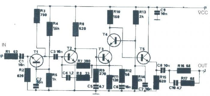 20dB antenna amplifier circuit diagram electronic project - schematic
