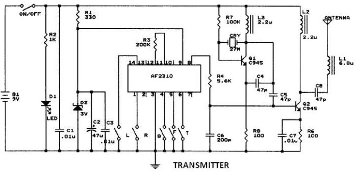car ratio transmitter circuits \u003e af2310 radio controlled motor circuit design project rc car circuit diagram at fashall.co
