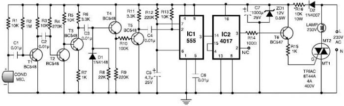 555 timer Clap switch circuit electronic project - schematic