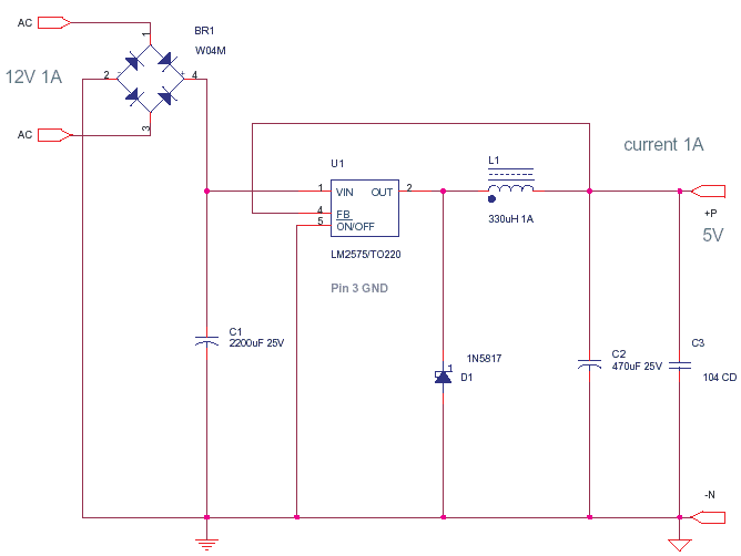 5v 1a power supply using lm2575