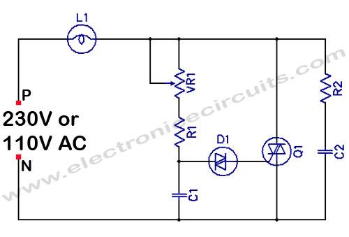 Filament Light Dimmer Circuit - schematic
