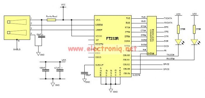 USB to Serial RS232 adapter circuit design electronic project - schematic
