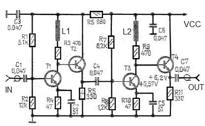 43 dB antenna amplifier circuit diagram - schematic