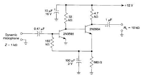 High gain microphone preamplifier electronic project - schematic