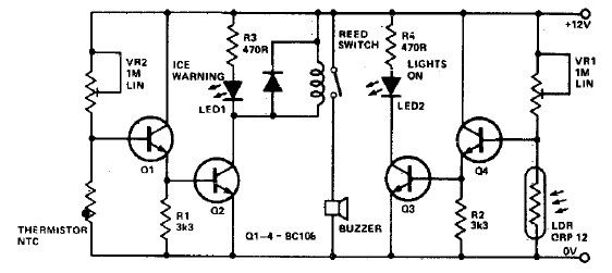 Ice warning and lights reminder circuit diagram project - schematic