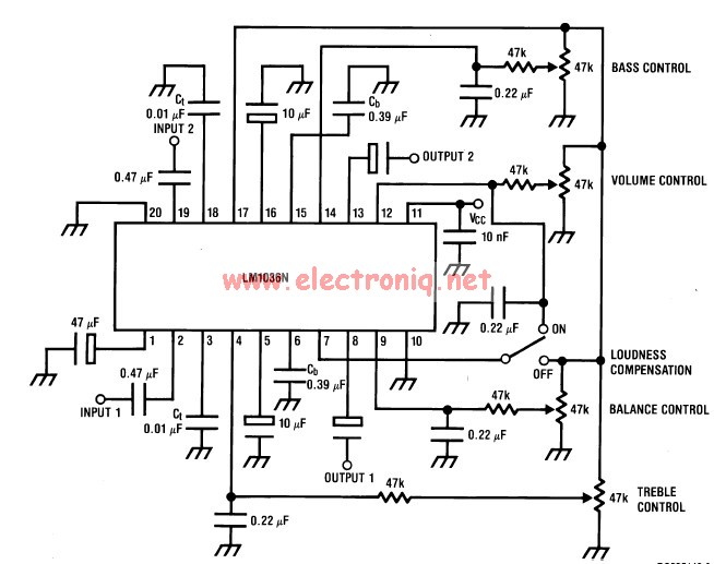 LM1036 volume controller equalizer electronic project - schematic