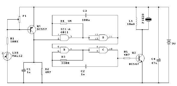 Light alarm schematic circuit diagram - schematic