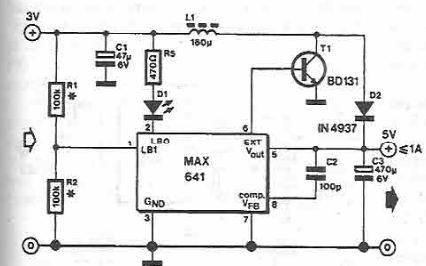 MAX641 high current step-up converter - schematic