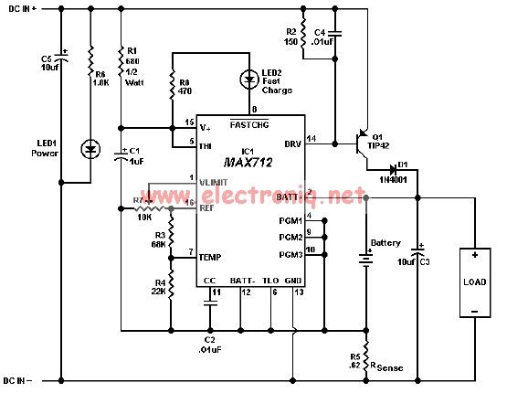 MAX712 charger circuit for gel cells NiMH NiCd batteries - schematic