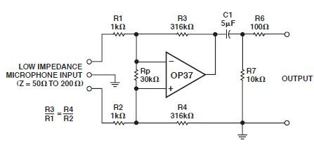 OP37 low noise microphone preamp circuit design electronic project - schematic