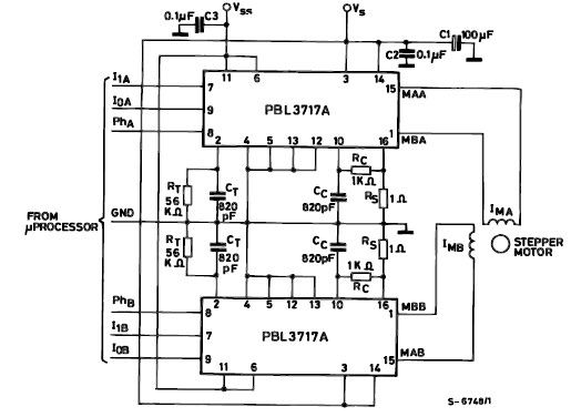 PBL3717A motor stepper driver circuit design electronic project - schematic