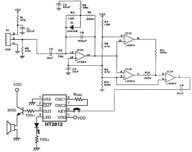 PIR motion detector circuit electronic project under