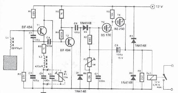 Proximity detector electronic project circuit design - schematic