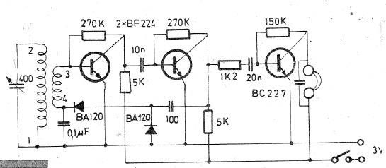 Radio receiver circuit for long and medium wave - schematic