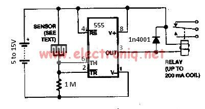Water sensor circuit using 555 timer - schematic