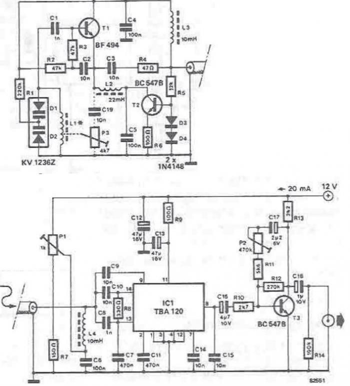 Long wave radio and medium wave radio receiver using TBA120 - schematic