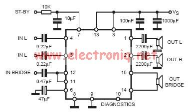 TDA7377 class AB car radio amplifier circuit design electronic project - schematic