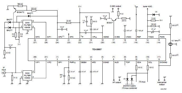 TDA9887 IF-PLL demodulator with FM radio circuit - schematic