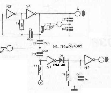 Touch sensor switch using inverters - schematic