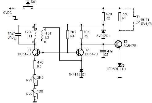 Metal detector circuit electronic project using transistors