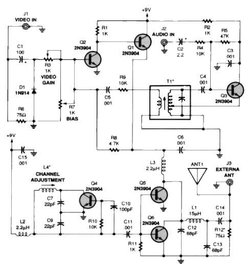 TV audio video transmitter circuit design project - schematic