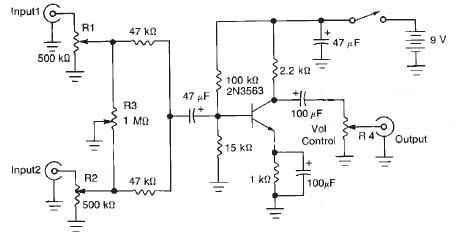Two channel audio mixer circuit design electronic project - schematic