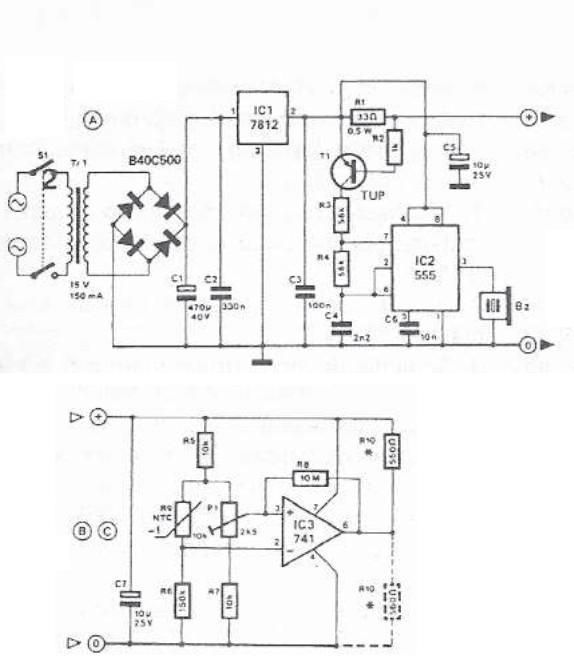 555 timer circuit temperature monitoring system - schematic