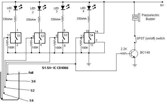Water level indicator circuit using CMOS ICs - schematic