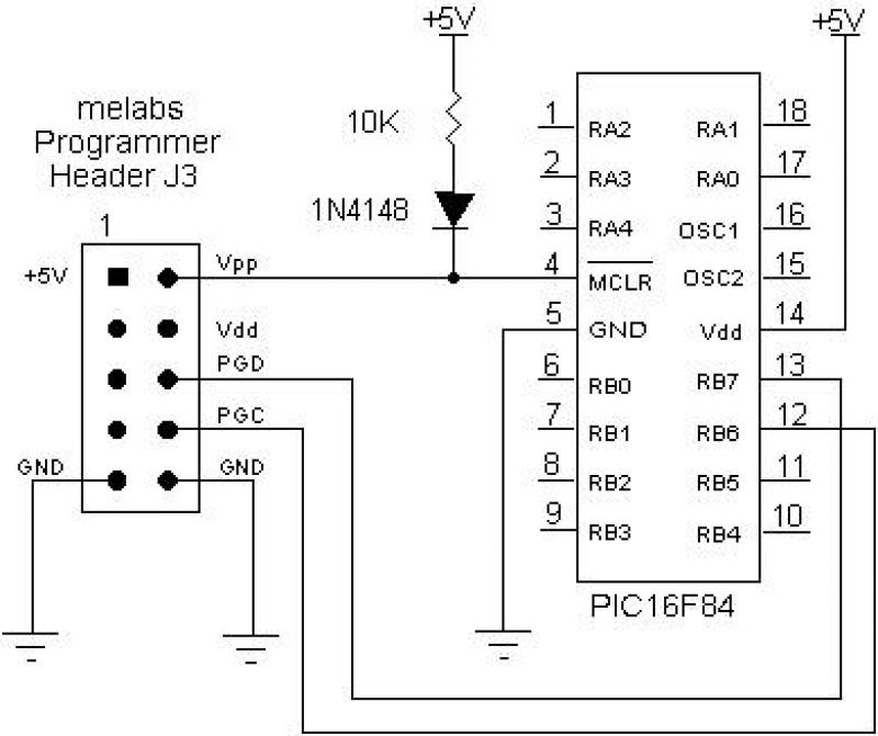 Programmers in circuit serial programming - schematic
