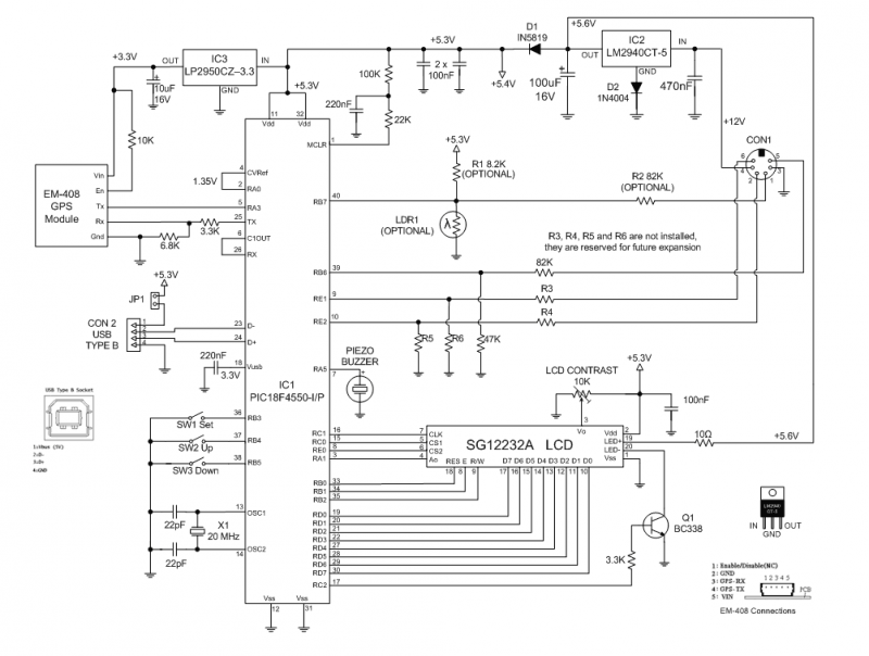 Building the Car or Boat Computer - schematic