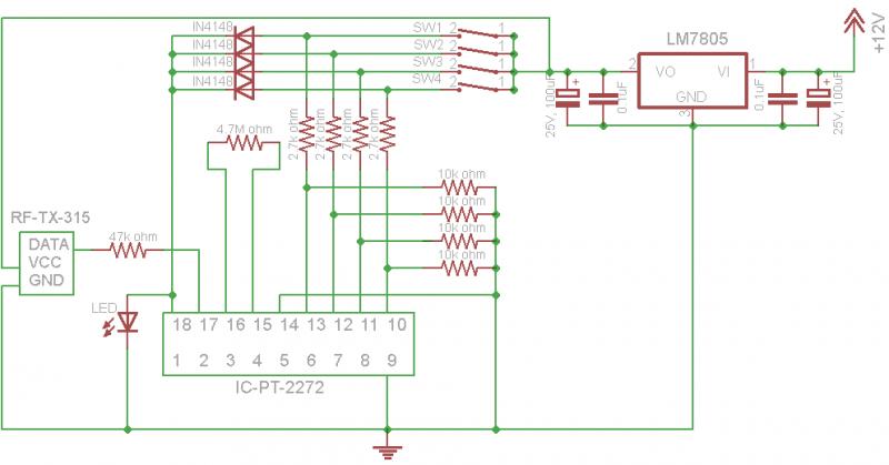 remote control 315mhz - schematic