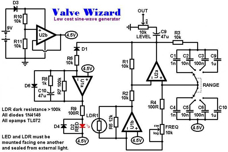 Low Cost, 16Hz - 100kHz Sine-wave Generator circuit - schematic