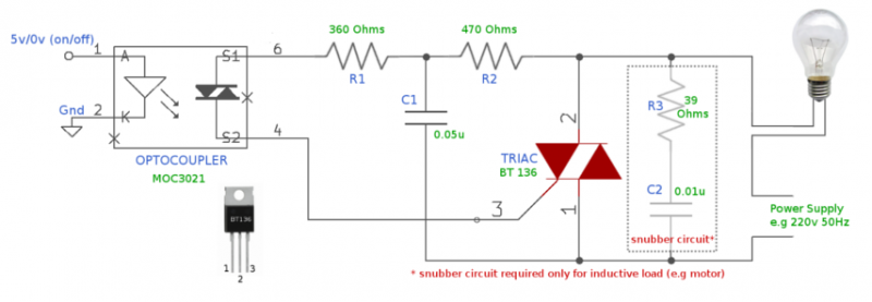 TRIAC Switch To Control High-Voltage Devices - schematic