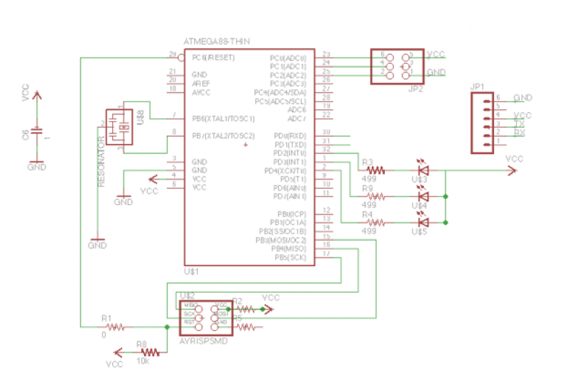 Add a sensor to a board and measure something with it - schematic