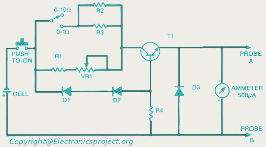 Simple Ohmmeter Circuit : Meter circuit page counter circuits next gr