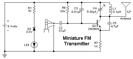 FM Transmitter circuit - schematic