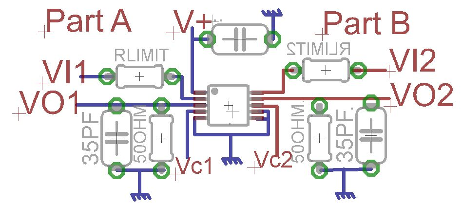 MAX4685 circuit and input current limit resistors - schematic