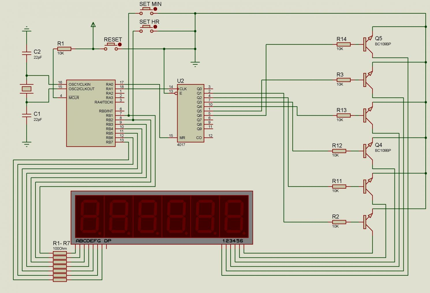 Digital Clock Circuit - schematic