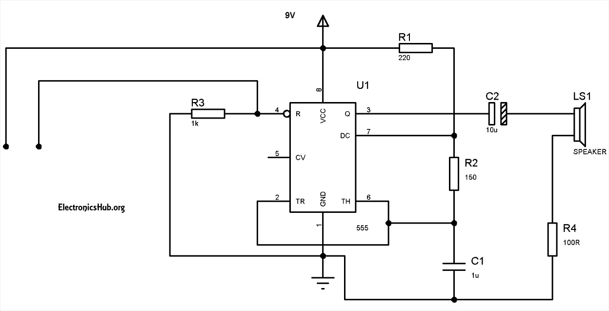 Fridge Door Alarm Circuit Diagram Using 555 And Ldr Electronic Fridgedooralarmcircuitbmp Water Level Timer
