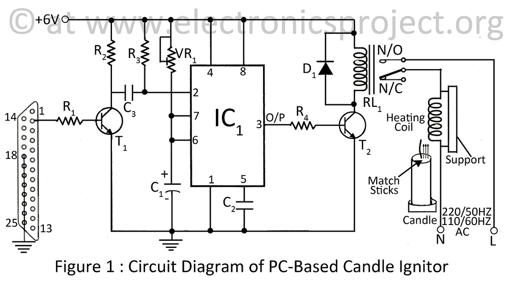 Circuit diagram of PC based candle ignitor circuits \u003e pc based candle ignitor lighting candle using computer