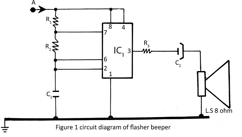 Flasher with Beeper with description - schematic