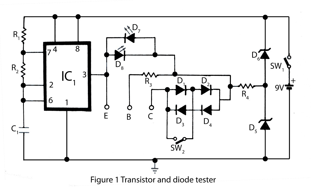 Transistor and diode tester - schematic