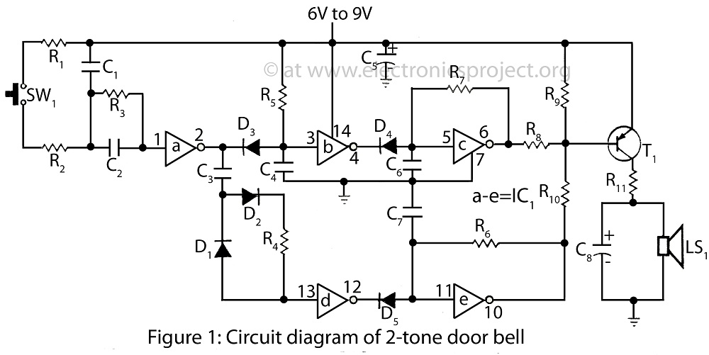 circuit diagram of 2 tone door bell doorbell circuit other circuits next gr Doorbell Wiring-Diagram Two Chimes at mifinder.co