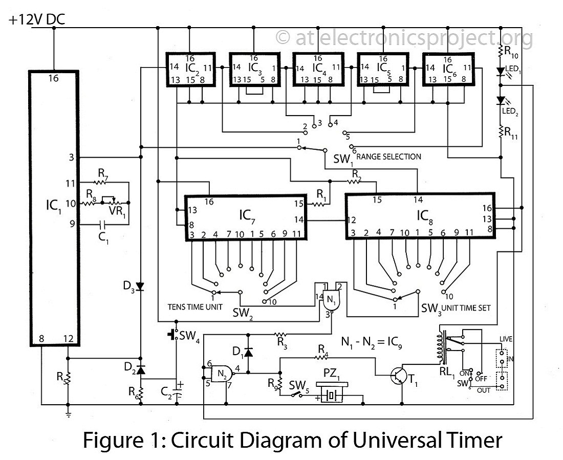 1 Minute 5 10 And 15 Timer Circuit Diagram Internal Of 555 Ic Circuits