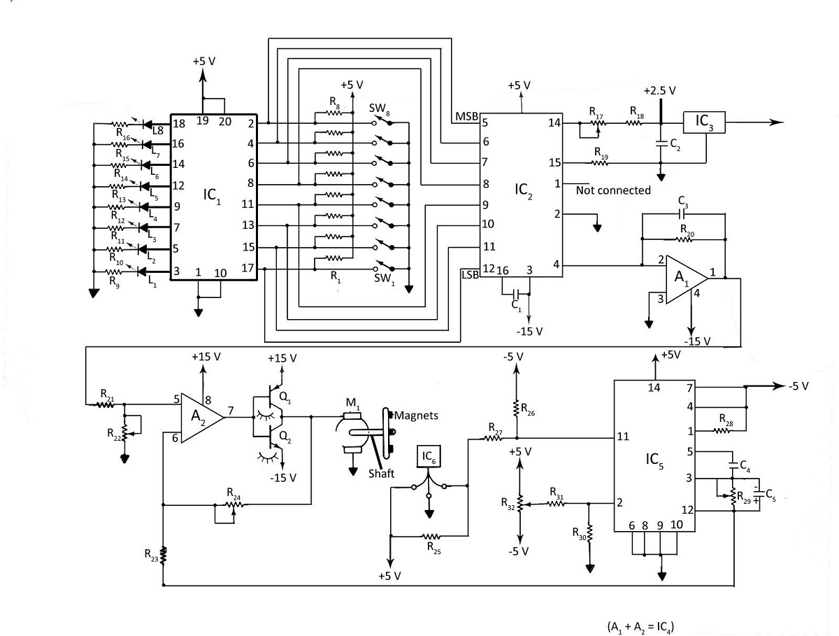 Digital DC Motor Speed Control With LED Display - schematic