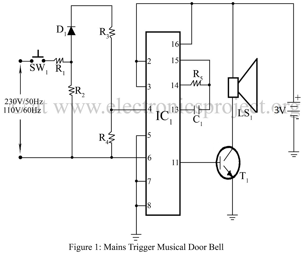 Mains Trigger Musical Door bell - schematic