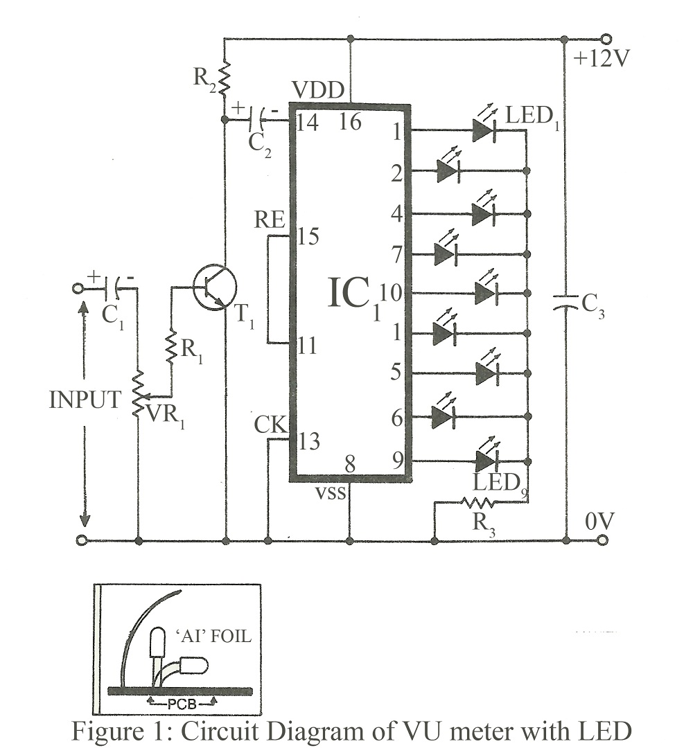vu meter with led - schematic