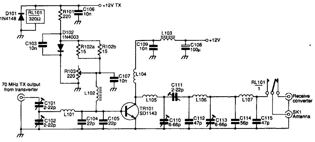 70MHz RF FM Power Amplifier - schematic