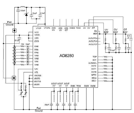 AD8280 safety monitor circuit for Lithium Ion battery