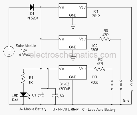 Solar Based Multipurpose Charger Circuit - schematic